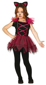 Girls Pink Cat Fancy Dress Costume