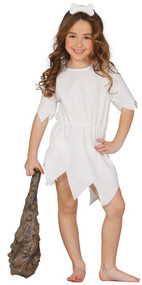 Girls White Cavegirl Fancy Dress Costume