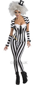 Ladies Beetlejuice Fancy Dress Costume