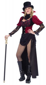 Ladies Burlesque Victorian Vampiress Fancy Dress Costume