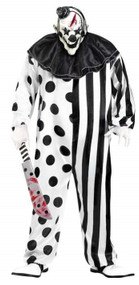 Mens Black/White Killer Clown Fancy Dress Costume