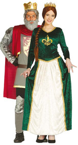 Couples Medieval King & Queen Fancy Dress Costume
