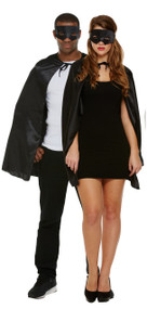 Adult Black Super Hero Fancy Dress Costume