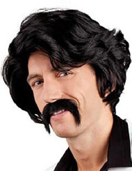 Mens Black 1970s Wig and Moustache