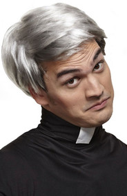 Mens Grey Priest Fancy Dress Wig