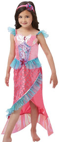 Girls Deluxe Pink Mermaid Fancy Dress Costume