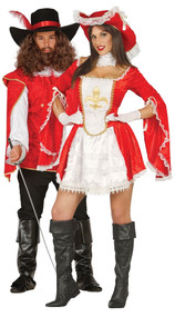 Couples Red Musketeer Fancy Dress Costumes
