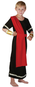 Boys Black Roman Toga Fancy Dress Costume