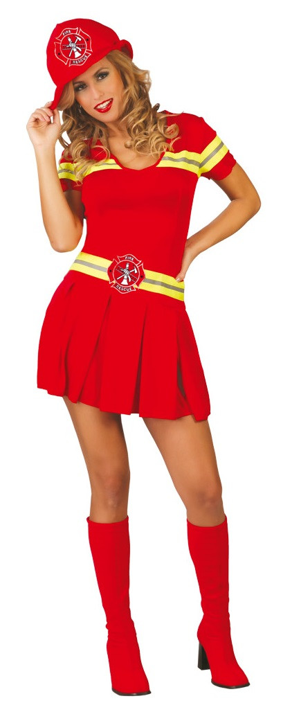 Ladies Sexy Red Firefighter Fancy Dress Costume Fancy Me Limited