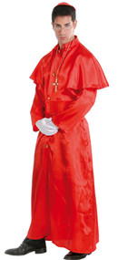 Mens Red Cardinal Priest Fancy Dress Costume