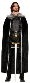 Adult Black Faux Fur Trimmed Cape