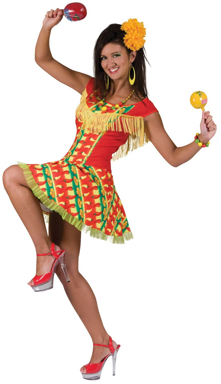 Ladies Tequila Shooter Girl Costume Mexican Womens Adults Fancy Dress