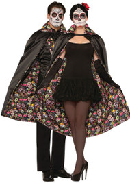 Adult Day of the Dead Fancy Dress Cape