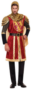 Mens Red Crusader Knight Fancy Dress Costume