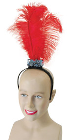 Ladies Flapper Headband with Red Feathers