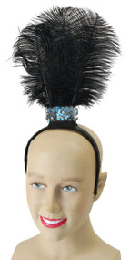 Ladies Flapper Headband with Black Feathers