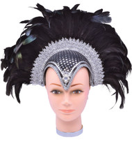 Black Feather Jewelled Headdress