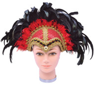Black/Red Feather Jewelled Headdress