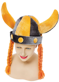 Adult Viking Hat with Ginger Plaits