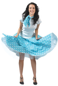 Ladies 1950s Blue Skirt Fancy Dress Costume