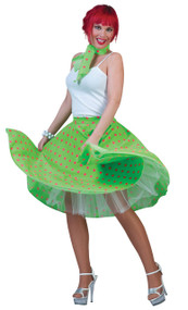 Ladies 1950s Green Skirt Fancy Dress Costume