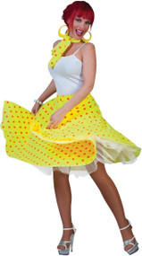 Ladies 1950s Yellow Skirt Fancy Dress Costume