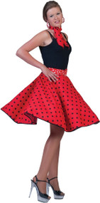 Ladies 1950s Red Skirt Fancy Dress Costume
