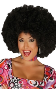 Adult Black Large Afro Fancy Dress Wig