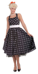 Ladies Black Day Dress 1950s Fancy Dress Costume