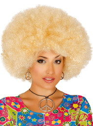 Adult Blonde Large Afro Fancy Dress Wig