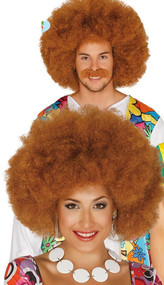 Adult Brown Large Afro Fancy Dress Wig