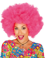 Adult Pink Large Afro Fancy Dress Wig