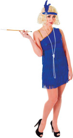 Ladies Blue Glam Flapper Fancy Dress Costume