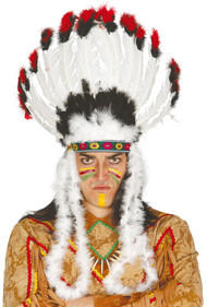 Adult White Feather Indian Headdress