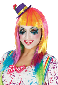 Ladies Long Rainbow Fancy Dress Wig