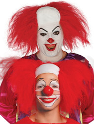 Adult Red Semi Bald Clown Fancy Dress Wig