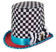 Adult Chequered Mad Hatter Hat