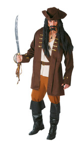 Mens Brown Pirate Captain Fancy Dress Costume