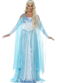 Ladies Medieval Ice Maiden Fancy Dress Costume