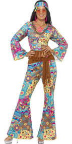 Ladies Blue Hippy Fancy Dress Costume 2