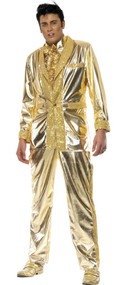 Mens Gold Elvis Fancy Dress Costume