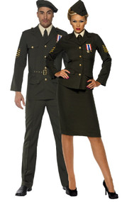Couples Wartime Officer Fancy Dress Costumes