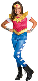 Girls Wonder Woman Jumpsuit Fancy Dress Costume