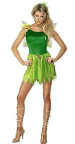 Ladies Green Fairy Fancy Dress Costume