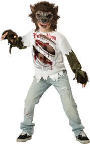 Boys Full Moon Werewolf Fancy Dress Costume