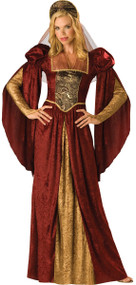 Ladies Red Renaissance Fancy Dress Costume 2