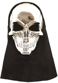 Adult Silver Skull Mask with Hood