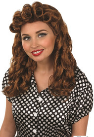Ladies 1950s Vintage Brown Wig