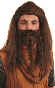 Mens Brown Viking Wig & Beard