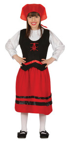 Girls Medieval Shepherdess Fancy Dress Costume